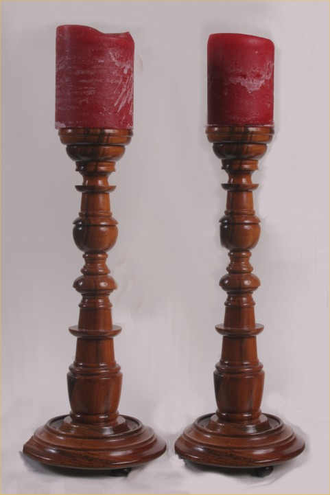 Pair of Goncalo Alves Candlesticks by Brian Robinson